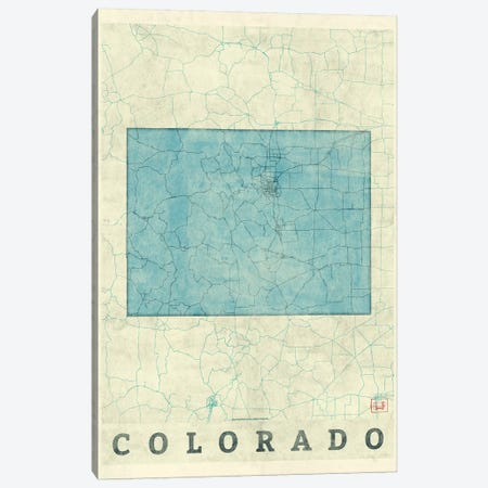 Colorado Map 3-Piece Canvas #HUR98} by Hubert Roguski Canvas Art