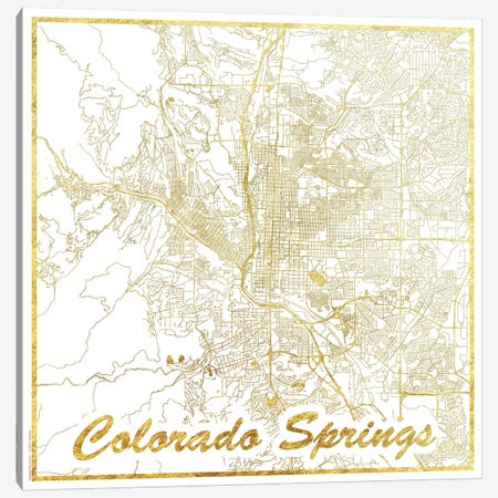 Colorado Springs Gold Leaf Urban Blueprint Map Canvas Print #HUR99} by Hubert Roguski Canvas Art