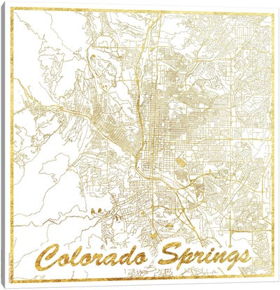 Colorado Springs Gold Leaf Urban Blueprint Map Canvas Art Print