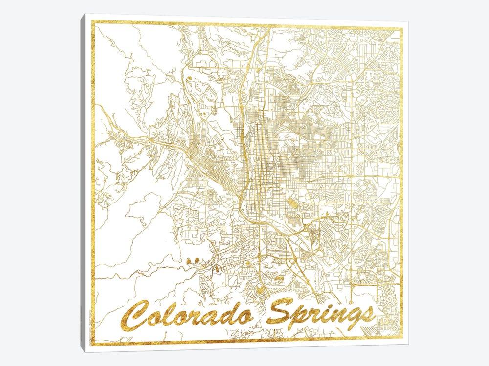 Colorado Springs Gold Leaf Urban Blueprint Map by Hubert Roguski 1-piece Canvas Art