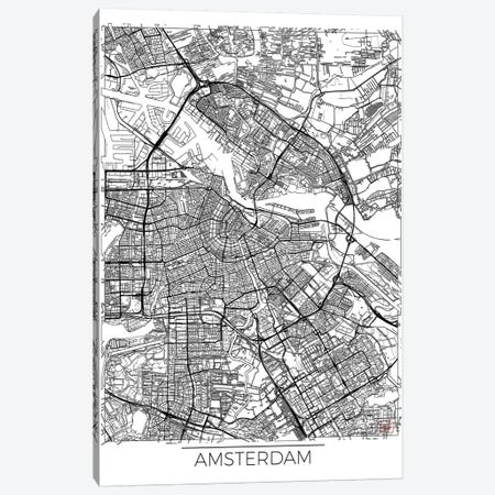 Amsterdam Minimal Urban Blueprint Map 3-Piece Canvas #HUR9} by Hubert Roguski Canvas Wall Art