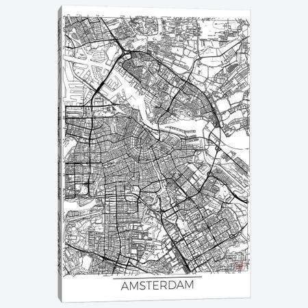Amsterdam Minimal Urban Blueprint Map Canvas Print #HUR9} by Hubert Roguski Canvas Wall Art
