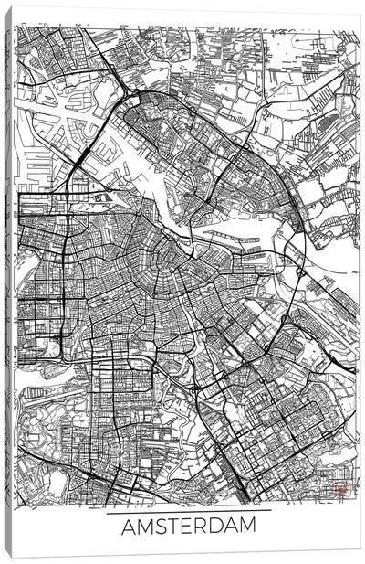 Amsterdam Minimal Urban Blueprint Map Canvas Art Print