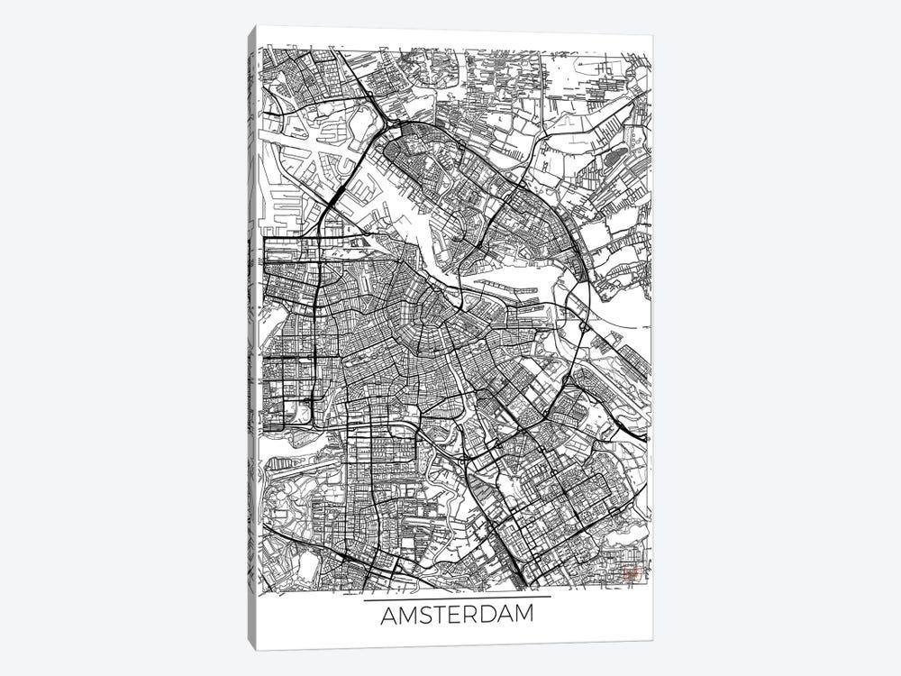 Amsterdam Minimal Urban Blueprint Map by Hubert Roguski 1-piece Canvas Artwork