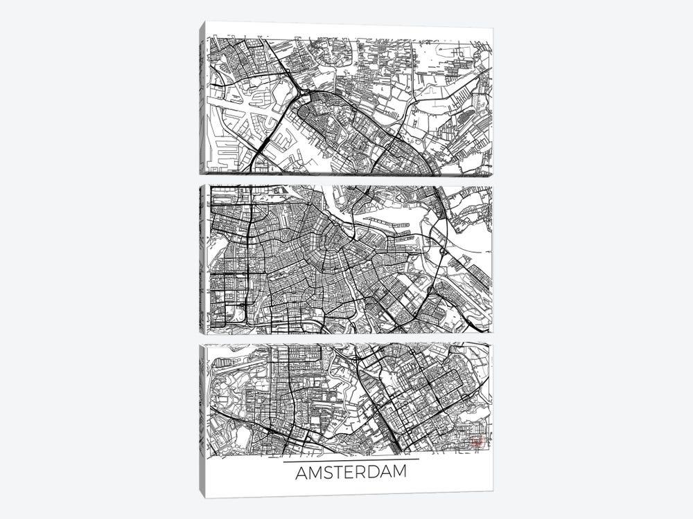 Amsterdam Minimal Urban Blueprint Map by Hubert Roguski 3-piece Canvas Art