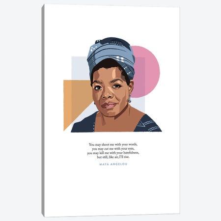 Maya Angelou Illustration Canvas Print #HVW15} by Holly Van Wyck Canvas Wall Art