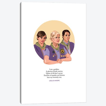 Pawnee Goddesses Illustration Parks And Rec Canvas Print #HVW20} by Holly Van Wyck Canvas Wall Art