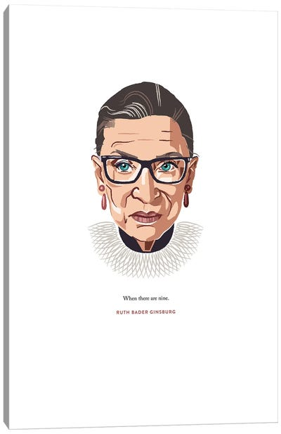RBG When There Are Nine Illustration Canvas Art Print