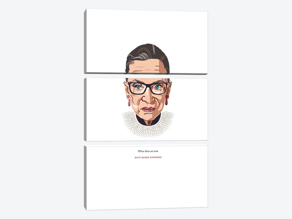 RBG When There Are Nine Illustration by Holly Van Wyck 3-piece Canvas Print