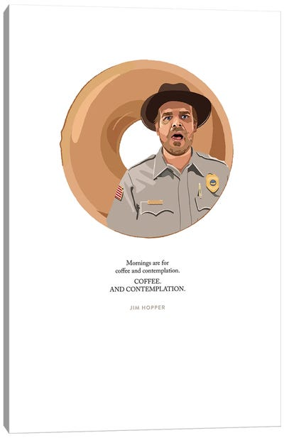 Stranger Things Jim Hopper Coffee And Contemplation Illustration Canvas Art Print