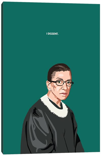 RBG I Dissent Illustration Canvas Art Print