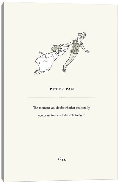 Peter Pan Book Page Illustration Canvas Art Print
