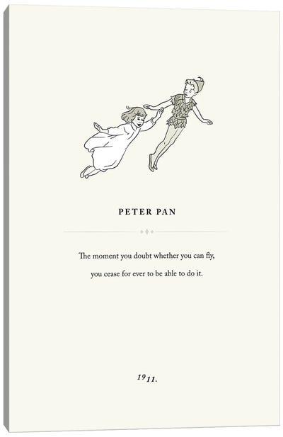Peter Pan Book Page Illustration Canvas Art Print