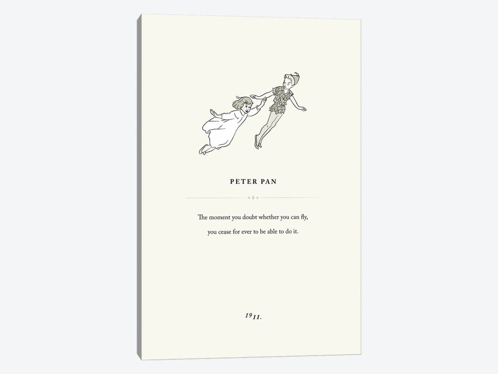 Peter Pan Book Page Illustration by Holly Van Wyck 1-piece Canvas Art Print