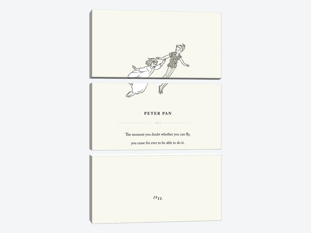 Peter Pan Book Page Illustration by Holly Van Wyck 3-piece Canvas Print