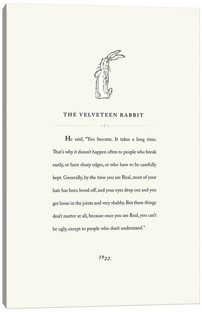 Velveteen Rabbit Book Page Illustration Canvas Art Print