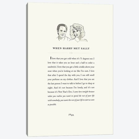 When Harry Met Sally Book Page Illustration Canvas Print #HVW28} by Holly Van Wyck Canvas Artwork