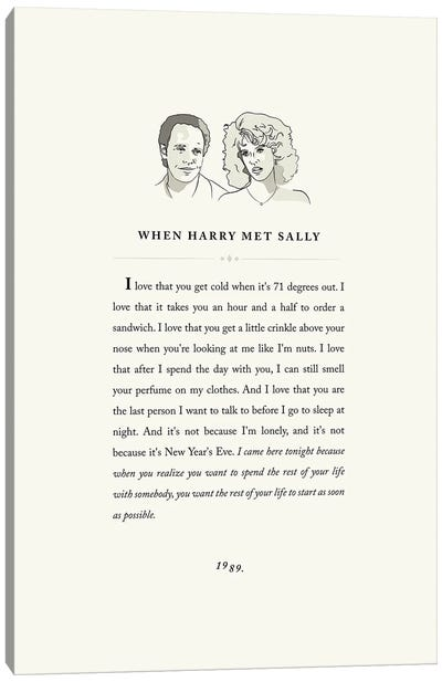 When Harry Met Sally Book Page Illustration Canvas Art Print