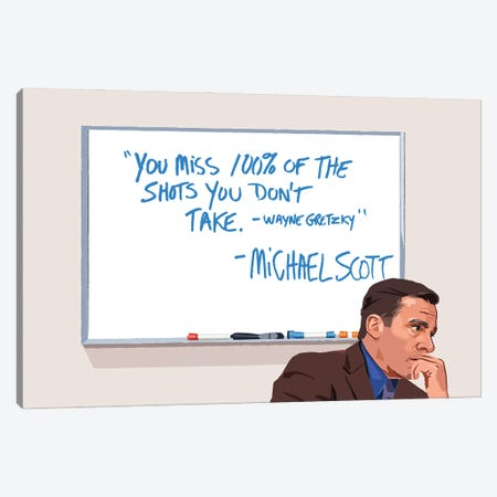Michael Scott Wayne Gretzky Illustration Canvas Print #HVW29} by Holly Van Wyck Canvas Art