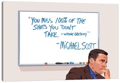 Michael Scott Wayne Gretzky Illustration Canvas Art Print