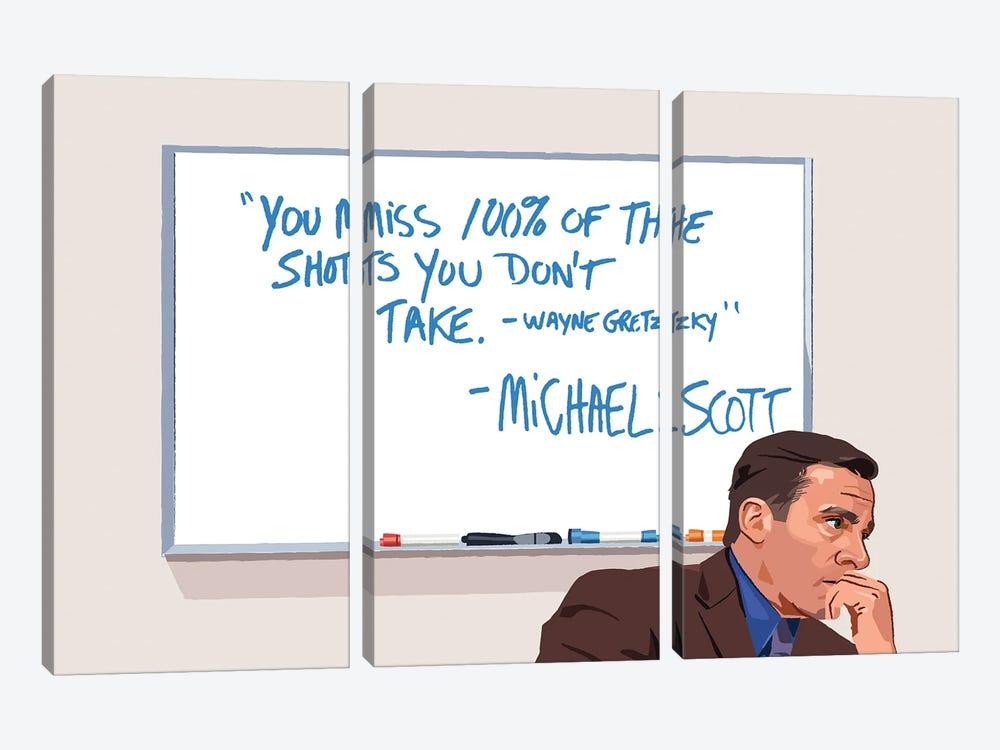 Michael Scott Wayne Gretzky Illustration by Holly Van Wyck 3-piece Canvas Art Print