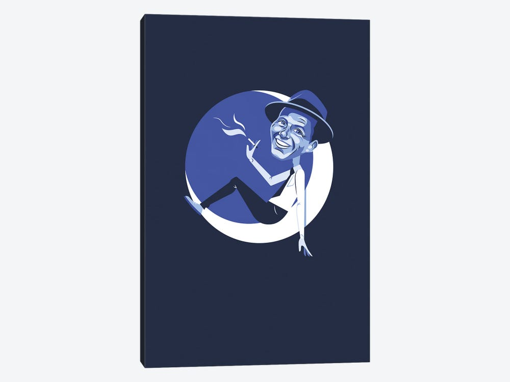 Frank Sinatra Fly Me To The Moon Illustration by Holly Van Wyck 1-piece Canvas Art Print