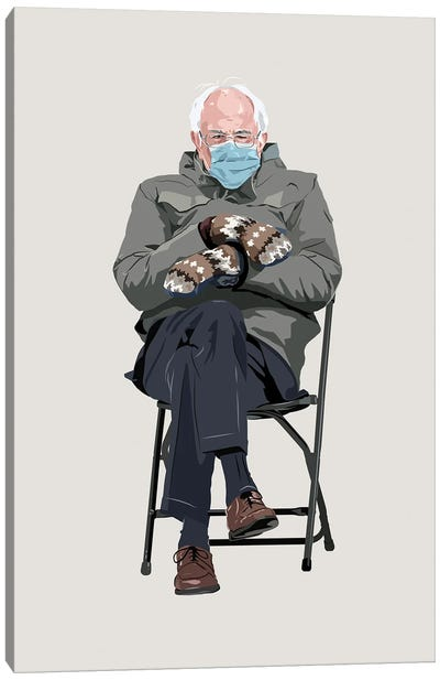 Bernie Sanders And His Mittens Canvas Art Print