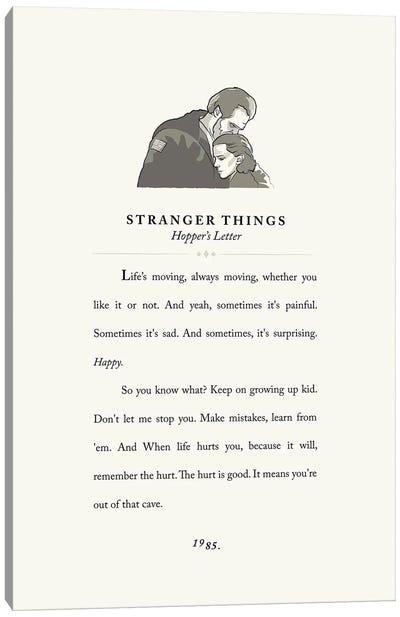 Stranger Things Vintage Book Design - Hopper's Letter Canvas Art Print