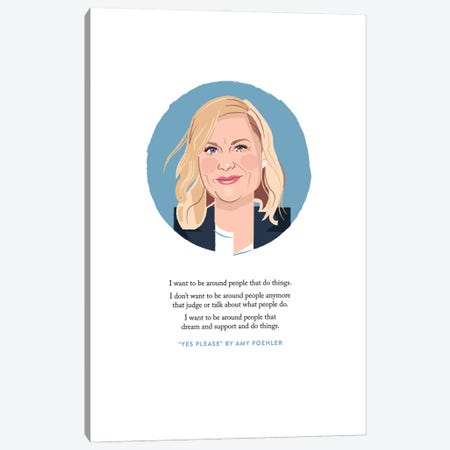 Amy Poehler Illustration Canvas Print #HVW3} by Holly Van Wyck Canvas Artwork