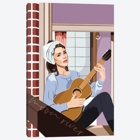 Breakfast At Tiffany's Audrey Hepburn Illustration Canvas Print #HVW4} by Holly Van Wyck Art Print