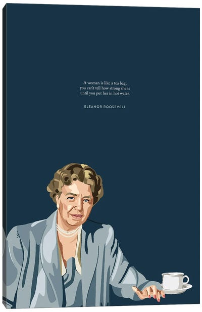 Eleanor Roosevelt Tea Illustration Canvas Art Print