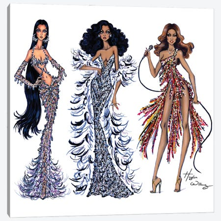 70's Divas 3-Piece Canvas #HWI63} by Hayden Williams Canvas Art Print