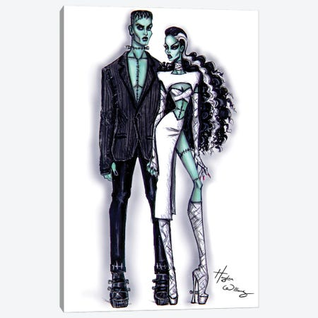 Frankenstein And His Bride Canvas Print #HWI97} by Hayden Williams Canvas Art Print