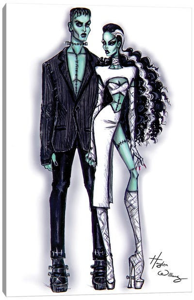 Frankenstein And His Bride Canvas Art Print