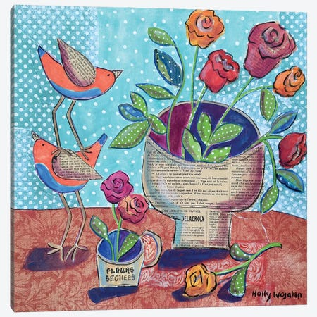 Flowers And Stacked Birds Canvas Print #HWJ12} by Holly Wojahn Canvas Print