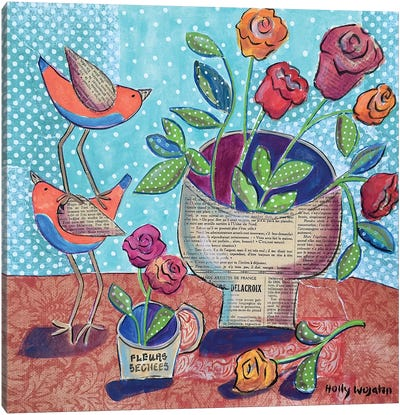 Flowers And Stacked Birds Canvas Art Print