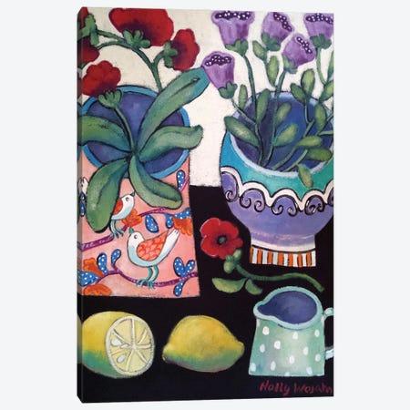 Happy Still Life With Lemon Canvas Print #HWJ16} by Holly Wojahn Canvas Wall Art