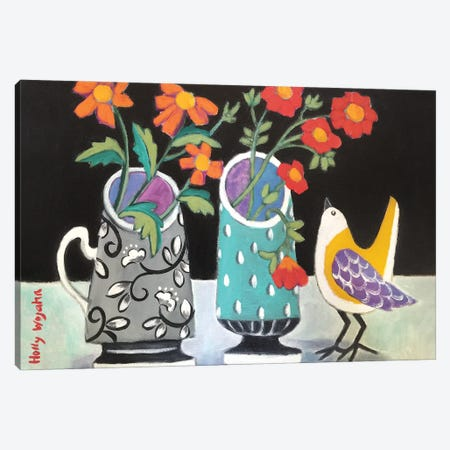 Two Cheery Vases And A Chirp Canvas Print #HWJ24} by Holly Wojahn Art Print