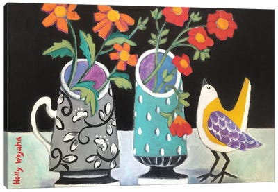 Two Cheery Vases And A Chirp Canvas Art Print