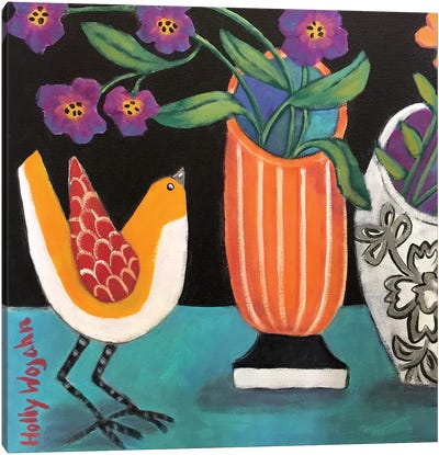 Two More Cheery Vases And A Chirp More Canvas Art Print