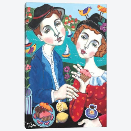 Couple With Cakes Canvas Print #HWJ9} by Holly Wojahn Canvas Print