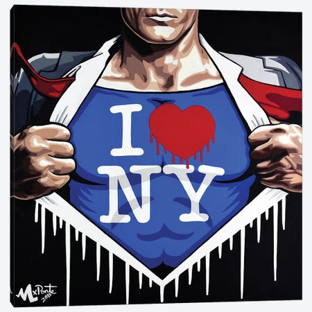 Heroes Love NY Canvas Print #HYL13} by Hybrid Life Art Canvas Wall Art