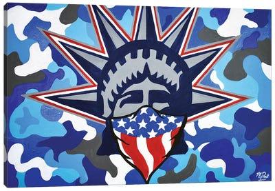 Lady Liberty Bandana Blue Camo Canvas Art Print