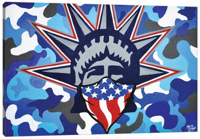 Lady Liberty Bandana Blue Camo Canvas Art Print