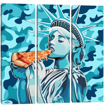 Liberty Pizza Only Blue Camo Square Canvas Art Print