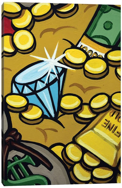 Pursuit Of Gold Happiness Diamond Closeup Canvas Art Print