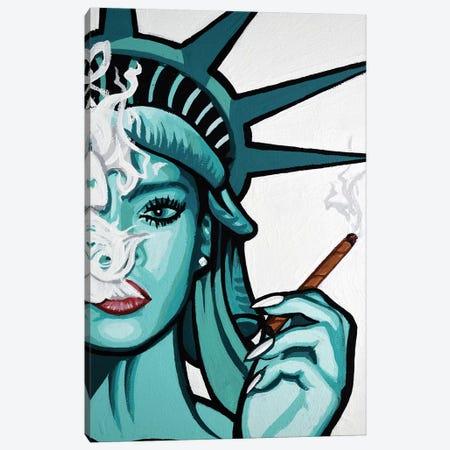 Rihanna Smoke Half Face Canvas Print #HYL26} by Hybrid Life Art Canvas Art