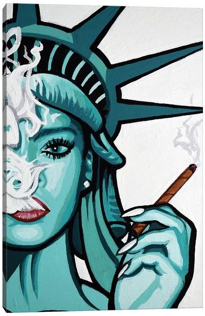 Rihanna Smoke Half Face Canvas Art Print