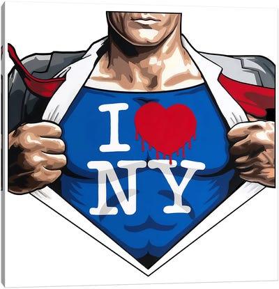 Superheros Love NY White Back Canvas Art Print