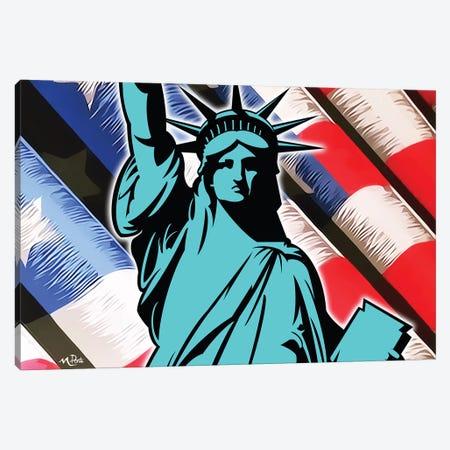 Waving Liberty Canvas Print #HYL32} by Hybrid Life Art Canvas Wall Art
